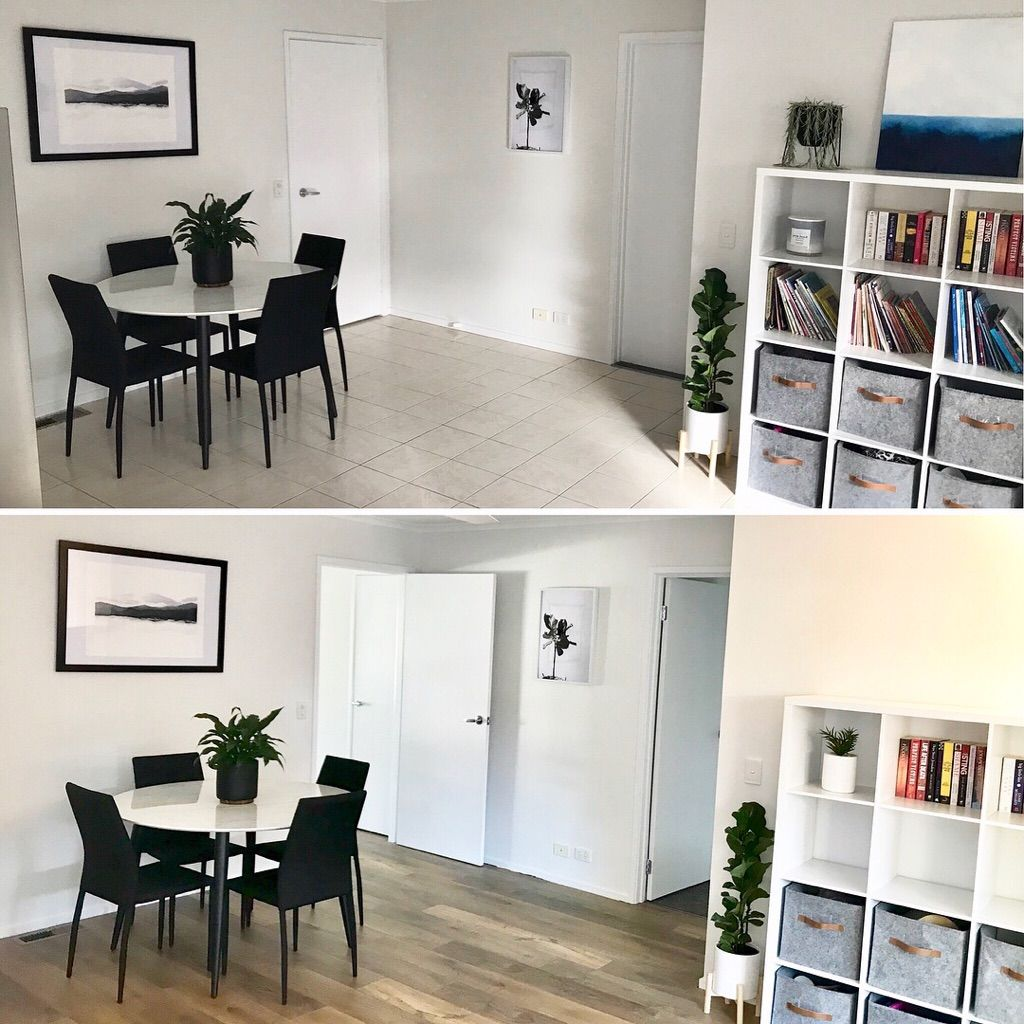 Before and After pics with French Cabin Laminate Flooring