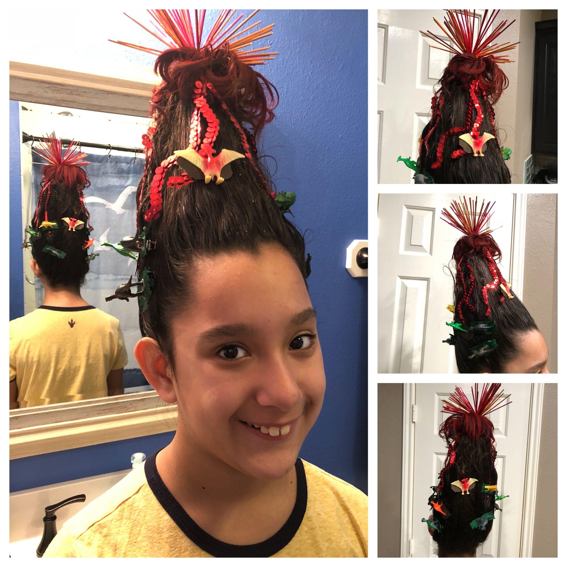 crazy hair day! volcano and dinosaurs (jurassic world