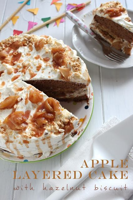 Miss Becky's Cottage: Apple layered cake with hazelnut biscuit