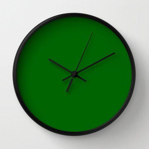 Deep Green Clock 056608 Green Wall Clock By Lushtartartproject Green Clocks Green Wall Clocks Wall Clock Modern