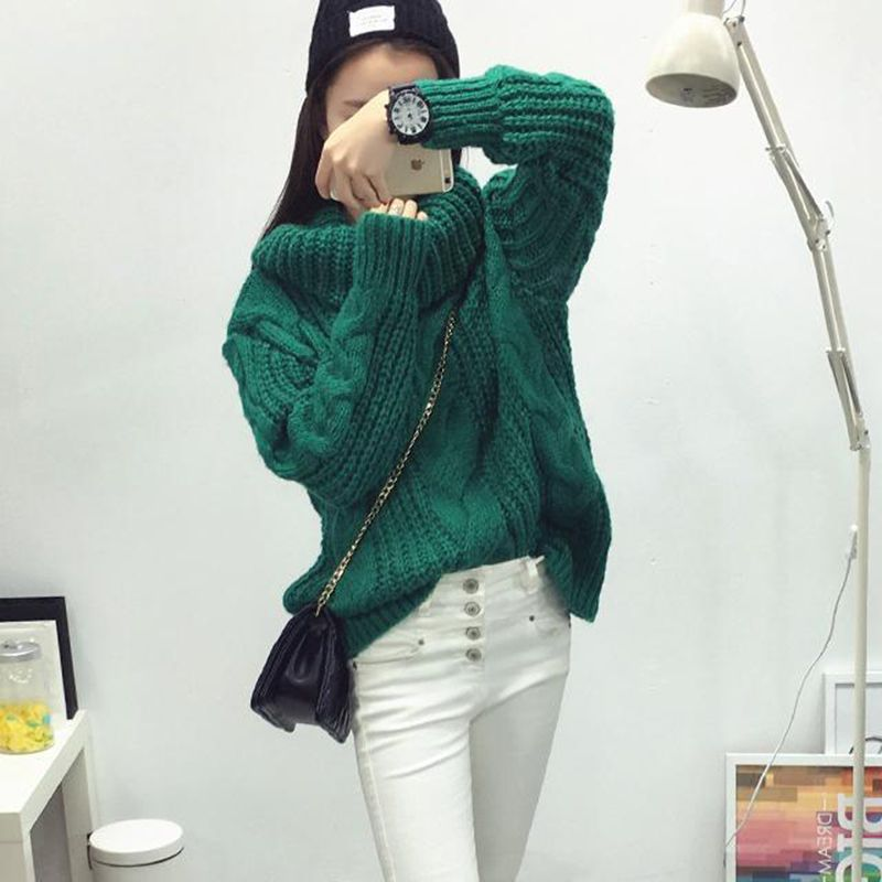 Fashion Women Winter Turtleneck Sweater Big Size Hemp Flowers ...