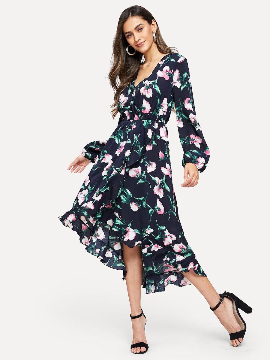 Kleid mit Chorhemd Hals und Blumen Muster- German SheIn ...