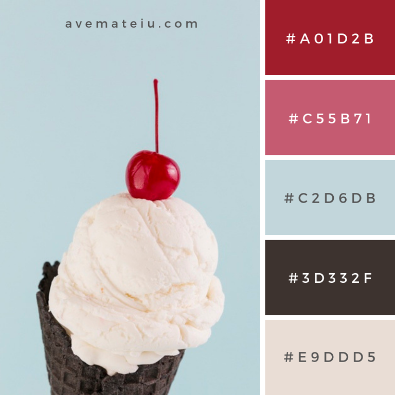 Ice cream in black cone with cherry above Color Palette ...