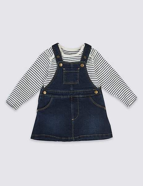 Marks and Spencer 2 Piece Denim Pinny & Bodysuit | Clothes ...