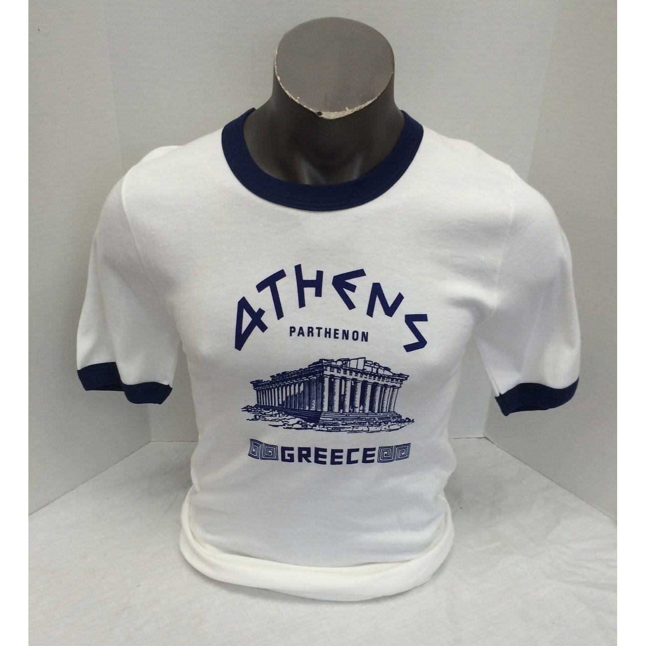 White Navy Ringer Athens Parthenon Souvenir T-Shirt Vintage 1970s Tee Shirt  Cotton - pinned by pin4etsy.com c2656bb51f5