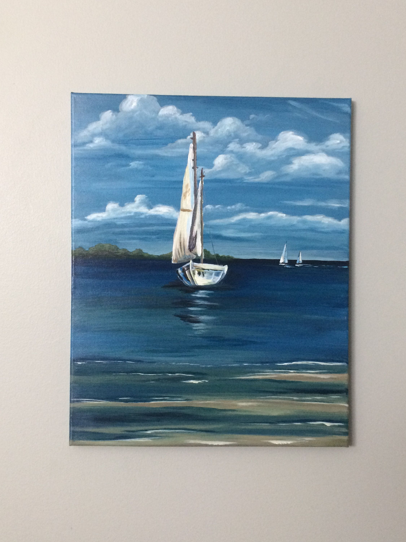 Sailboat Painting Original Acrylic Water Ocean Scenery Blue Sky Clouds Boat Sailboat Coastal Art Ocean Painting Modern Farmhouse Sailboat Painting Ocean Painting Boat Painting Canvas