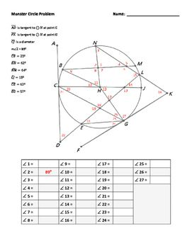 Monster Circle Puzzle - Angles Formed By Secants and Tangents | Free
