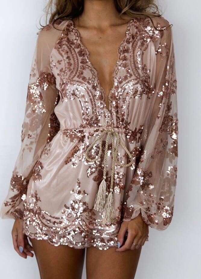 d7bc86125b43 Gold Sequin Embellished Plunging V-Neck Long Sleeve Romper Playsuit ...