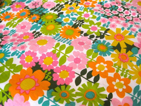 1960's Vintage Groovy Flower Power Fabric.  This is sold, but I love looking at it, and had to add it to my board!