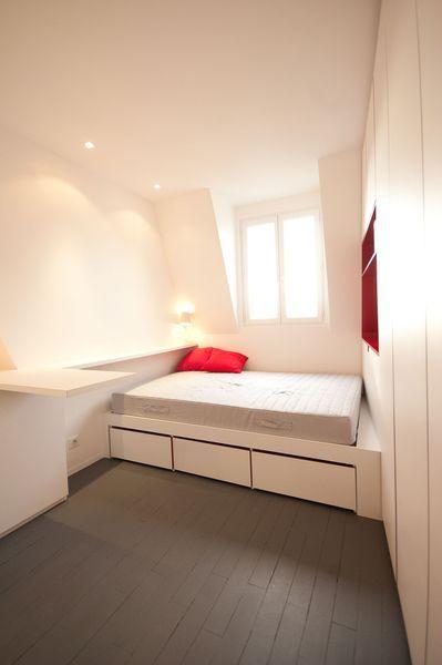am nagement studio paris 12 16m2 fonctionnel et contemporain garderober och inspiration. Black Bedroom Furniture Sets. Home Design Ideas