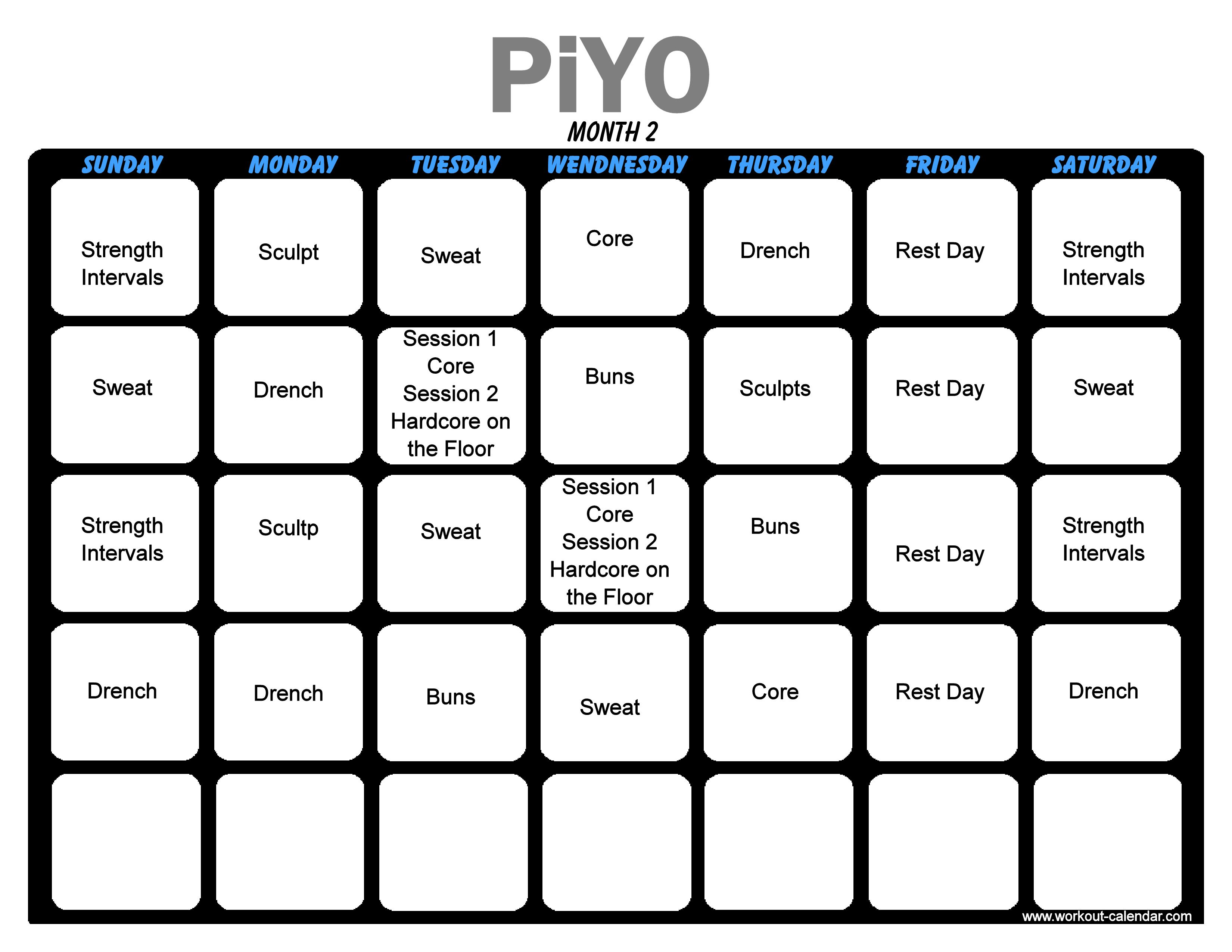 Piyo Workout Month 2