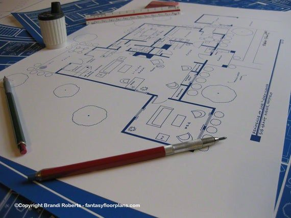 Leave it to Beaver TV Show Floor Plan BluePrint Poster Art for Home of June and Ward Cleaver 1st Floor Hand Drawn Christmas Gifts