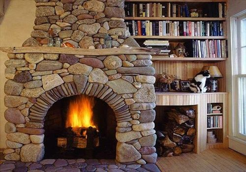 Architecture Fire Place Brick Random Colorful Stone Wall Cast Mantels Chimney Wooden Book Case Shelves Windows Floor Interiors Designs Home Decorating