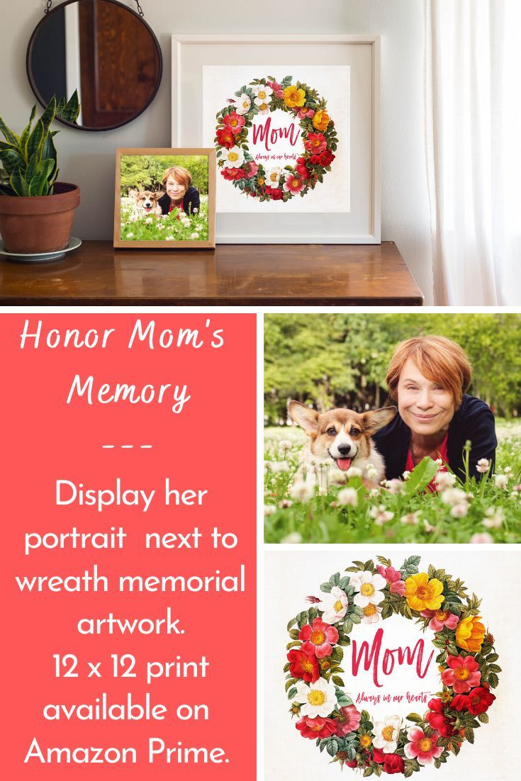 Floral wreath print in memory of mom memorial gifts for