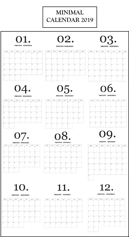 Modern Minimal 2019 Monthly Calendar Minimalist Calendar