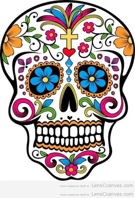 Sugar Skull - I wan to paint one with mostly primary ...