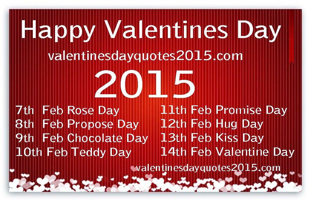 Valentines Day Week List Date And Schedule Happy 2015Holiday – Valentine Card 2015