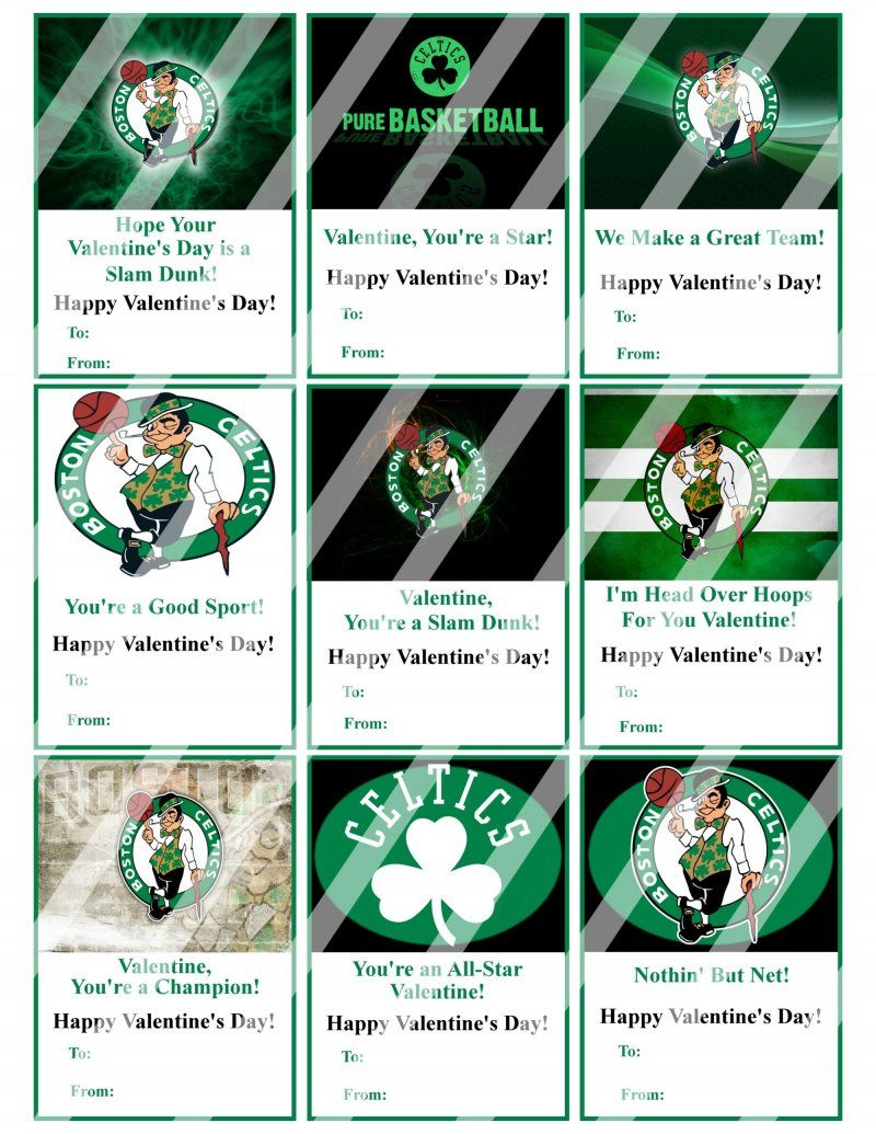 Boston Celtics Valentines Day Cards Sheet #2 (instant download ...