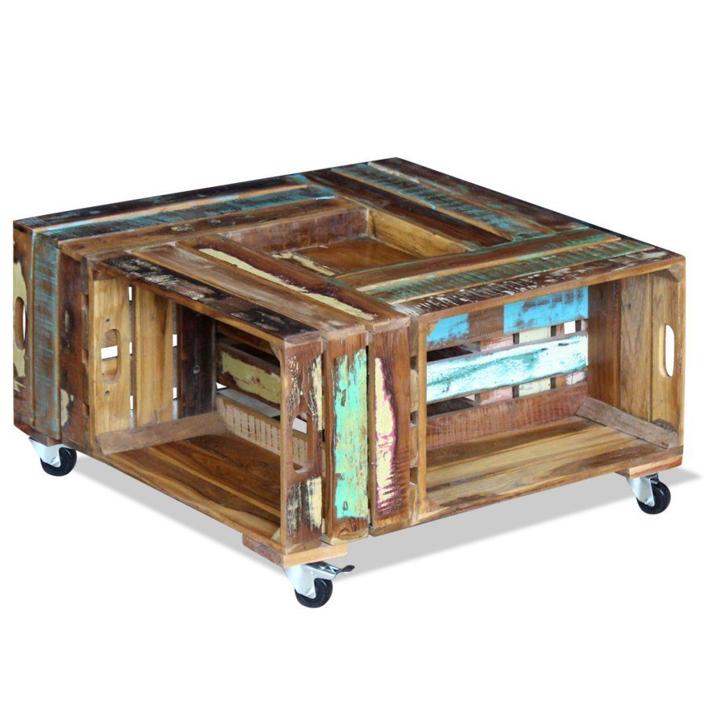 Amazon Com Festnight Reclaimed Wood Square Coffee Table With 4