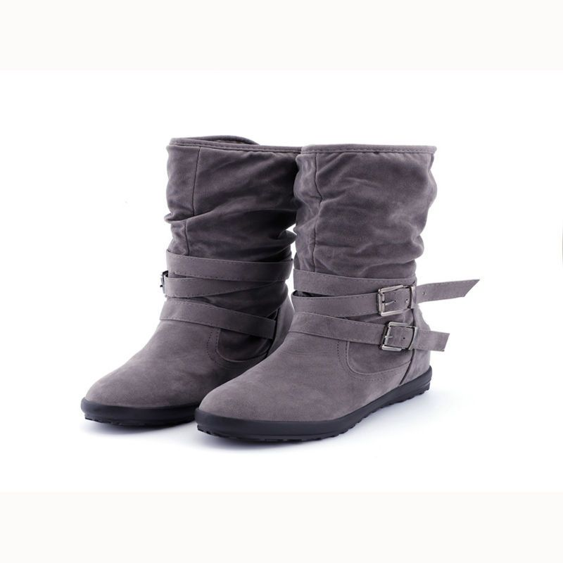 89770f44384 Ladies Flat Boots Women Buckle Fur Slouch Mid-calf Boots Winter ...