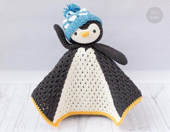 Po the Penguin Lovey Pattern | Security Blanket | Crochet Lovey | Baby Lovey Toy | Comforter | Lovey Blanket PDF Crochet Pattern #crochetsecurityblanket
