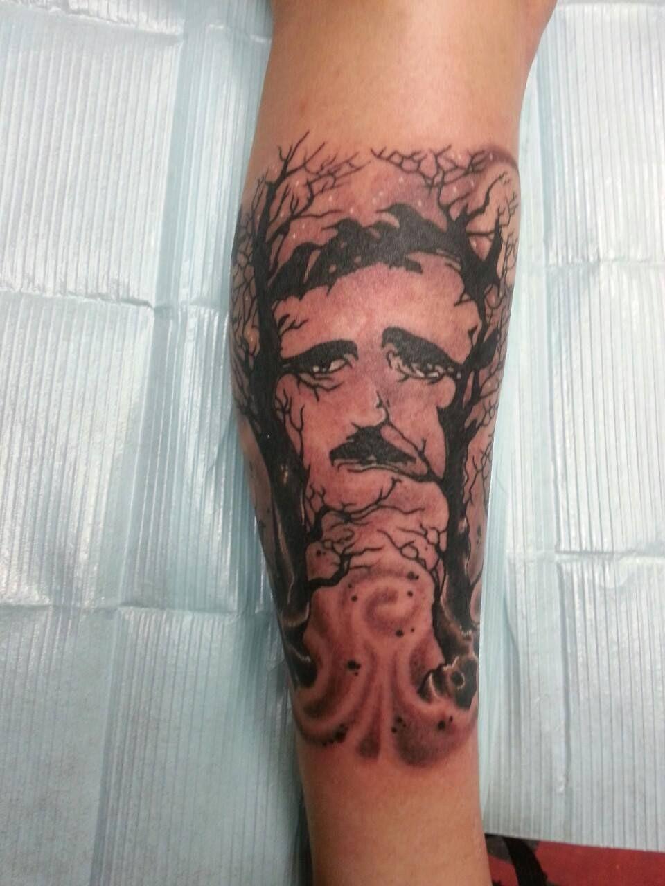 Edgar allan crow by rick welch at cape fear tattoo