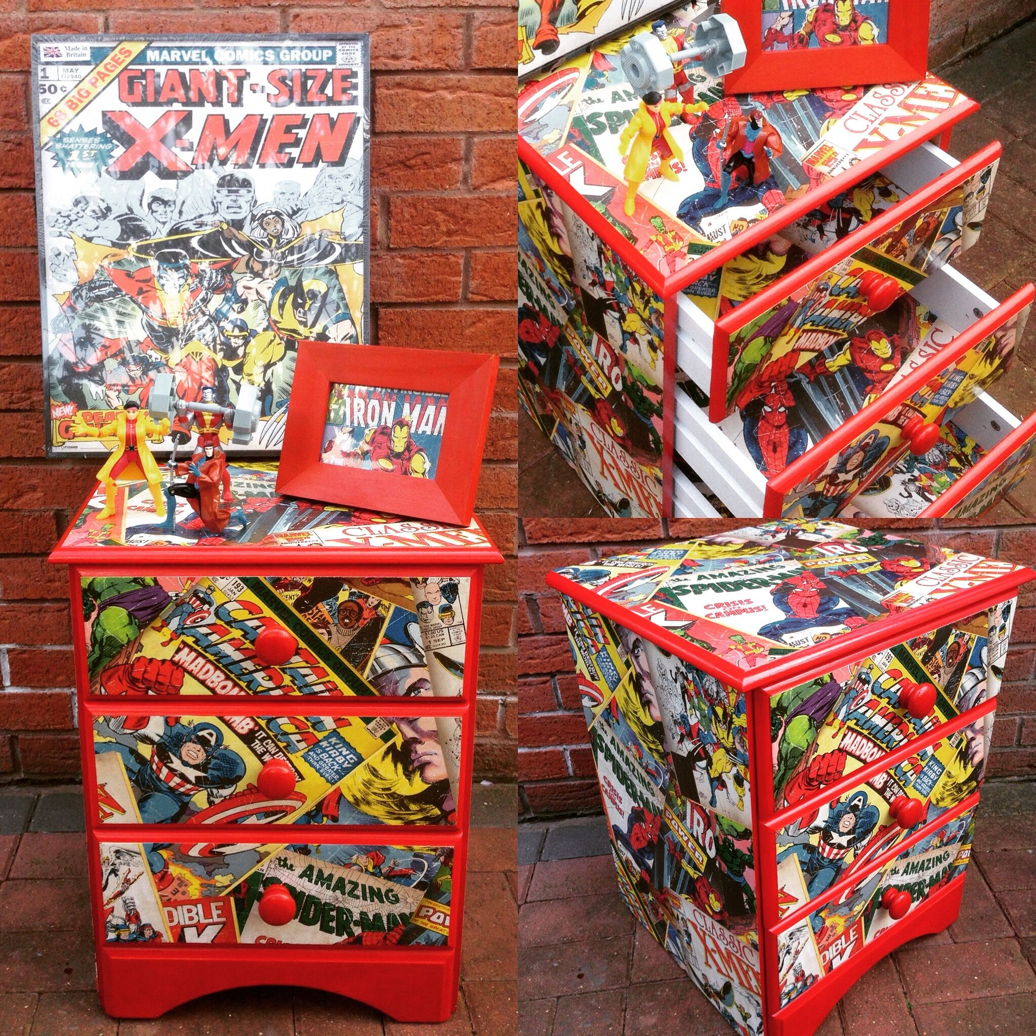 comic book furniture. For Sale At Just £40! Bright Red Marvel Upcycled Pine Bedside Table Comic Book Furniture