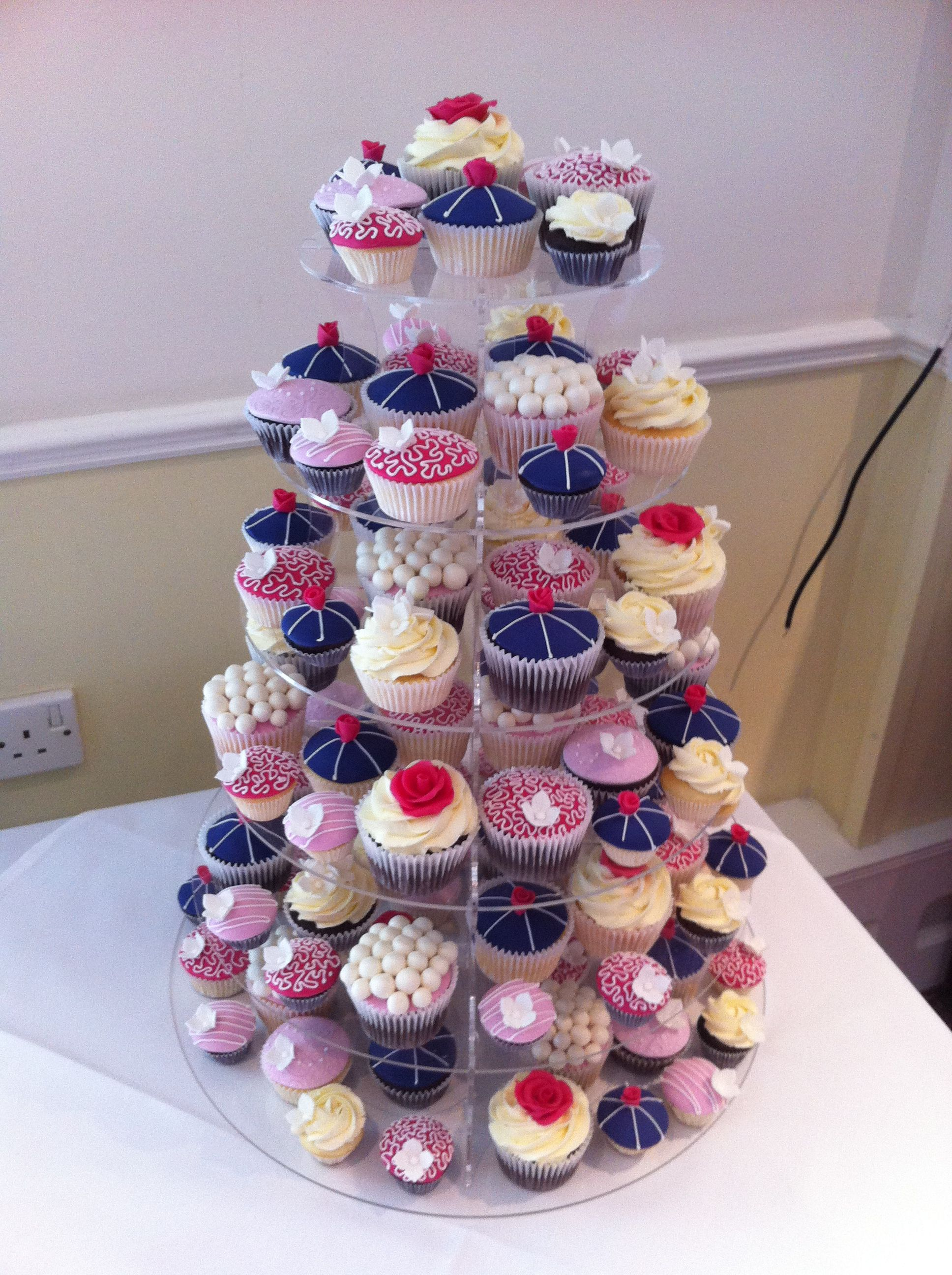 Pink And Navy Wedding Cupcakes Cake Topper Instead Of