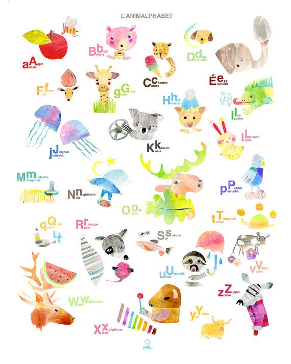 French English Alphabet Giclee Poster 26 Illustrations Bilingual