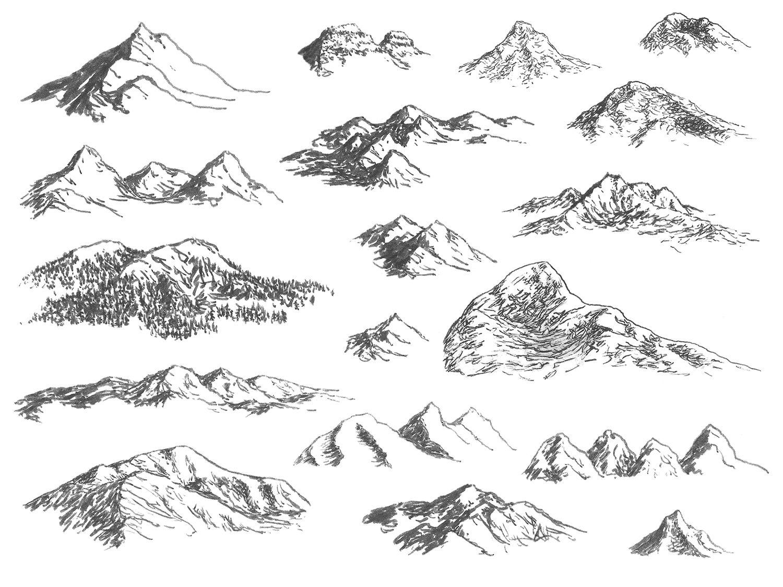 Dessiner des cha nes de montagnes vue isom trique paysage encre pinterest - Dessin de montagne ...