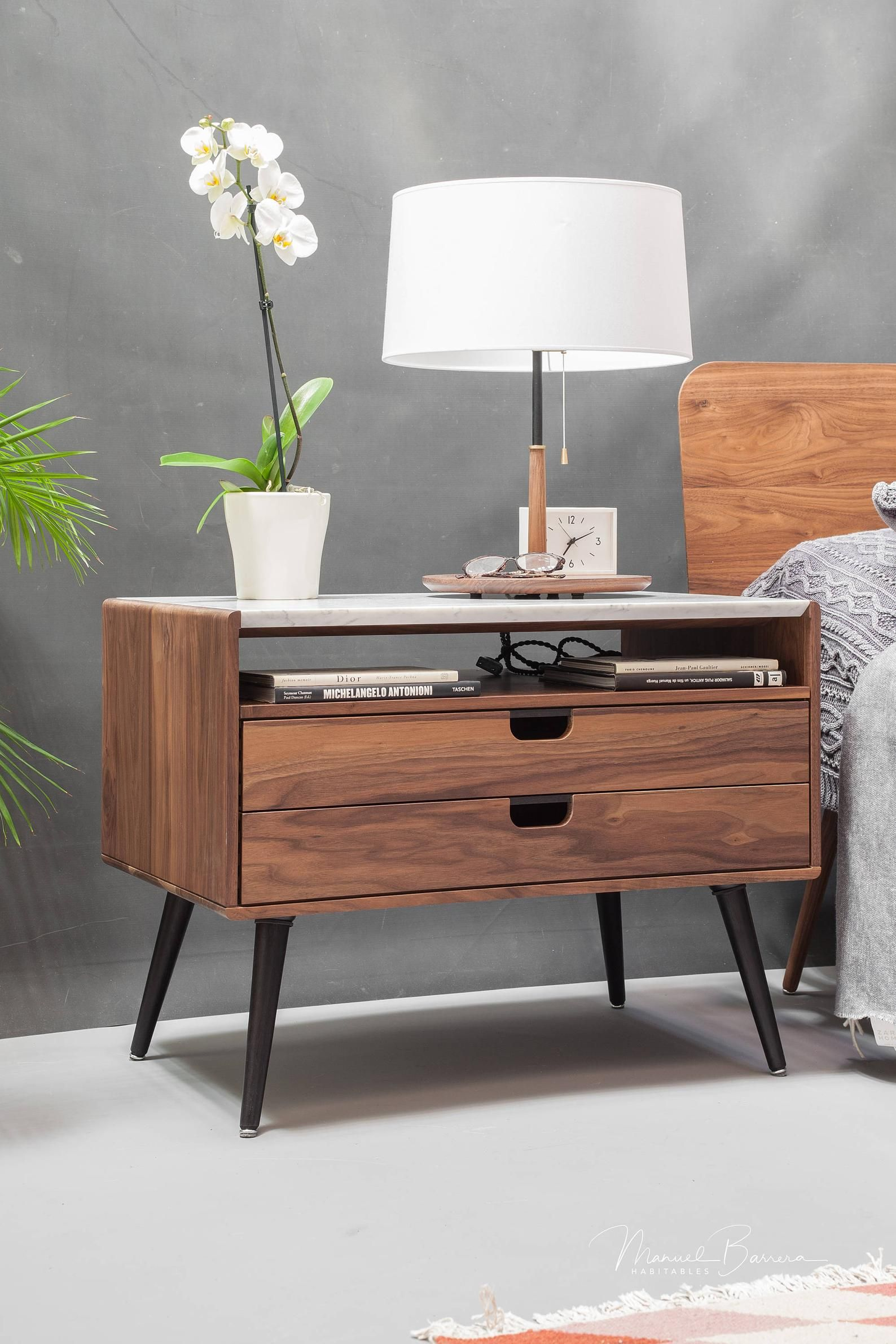 Retro Style Container Bedside Table: 2020的Nightstand Bedside Table With Two Drawers In Solid