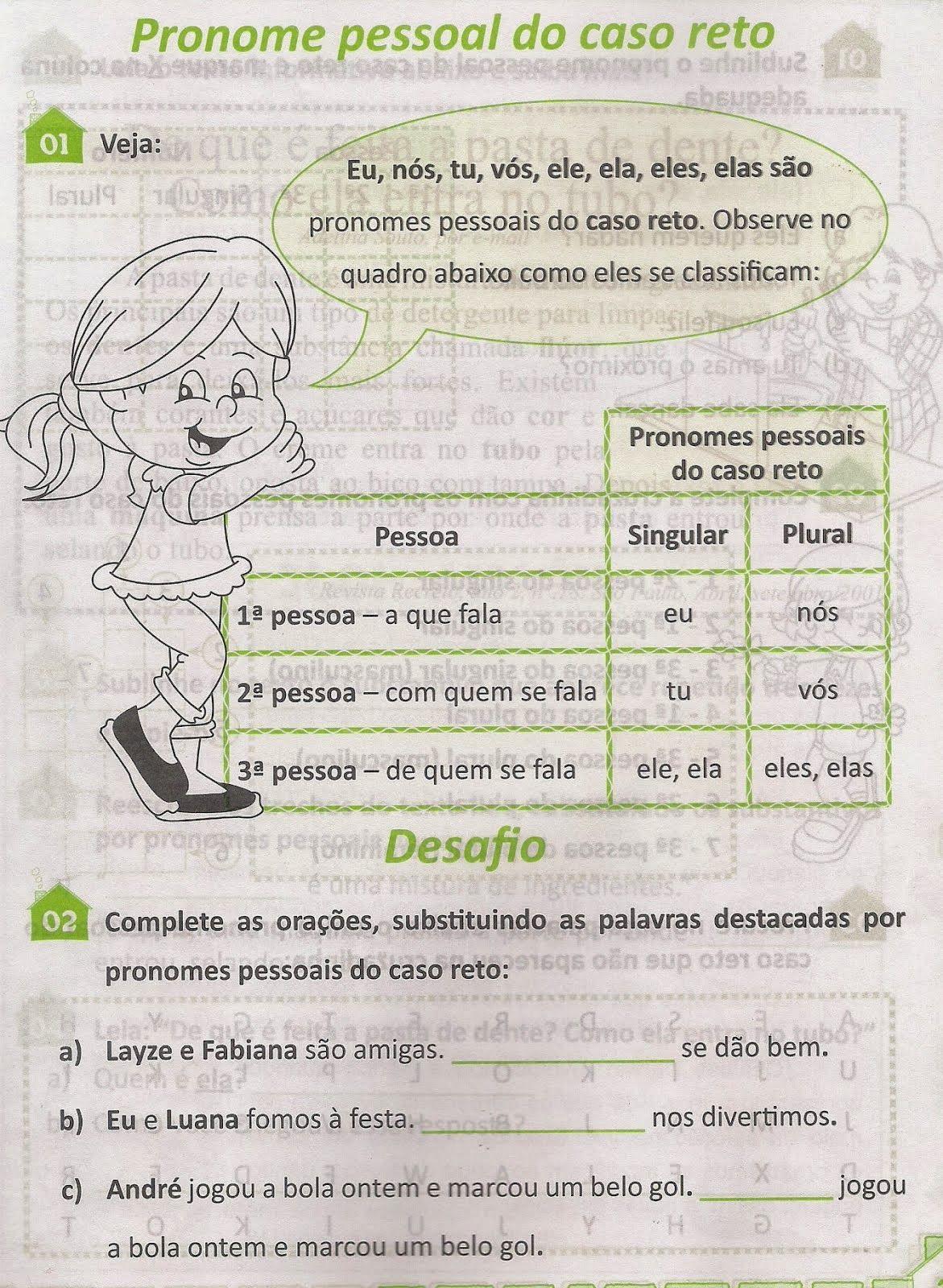 Atividades Sobre Pronome Pessoais Atividades Sobre Pronomes