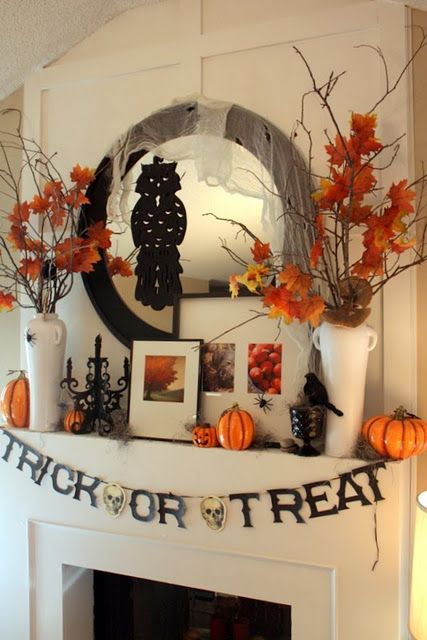 Fall mantle idea our tv will be mounted but can use some of this - large outdoor halloween decorations