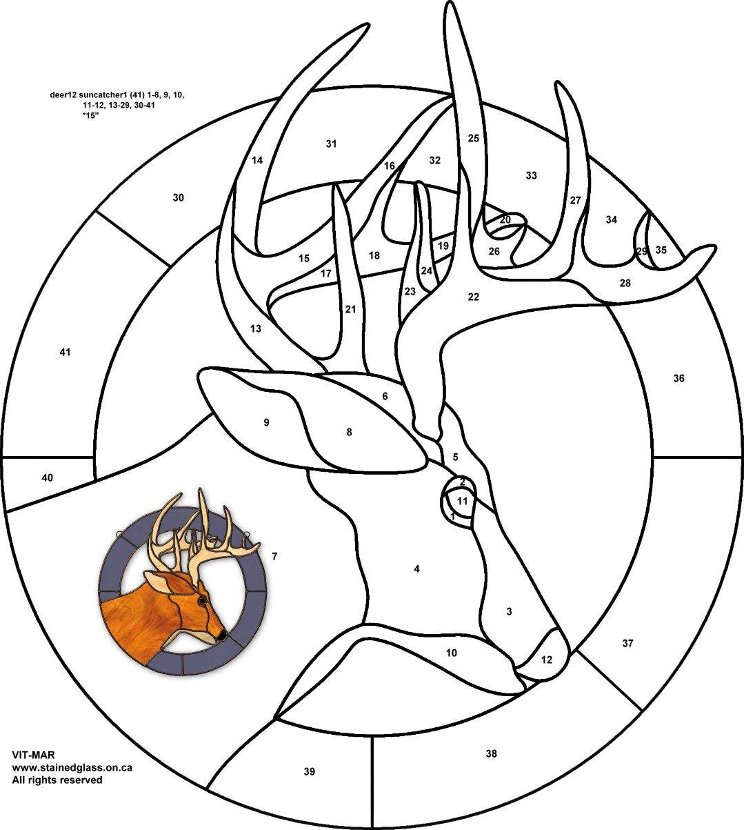 printable paint by number deer patternsetincircular frame by