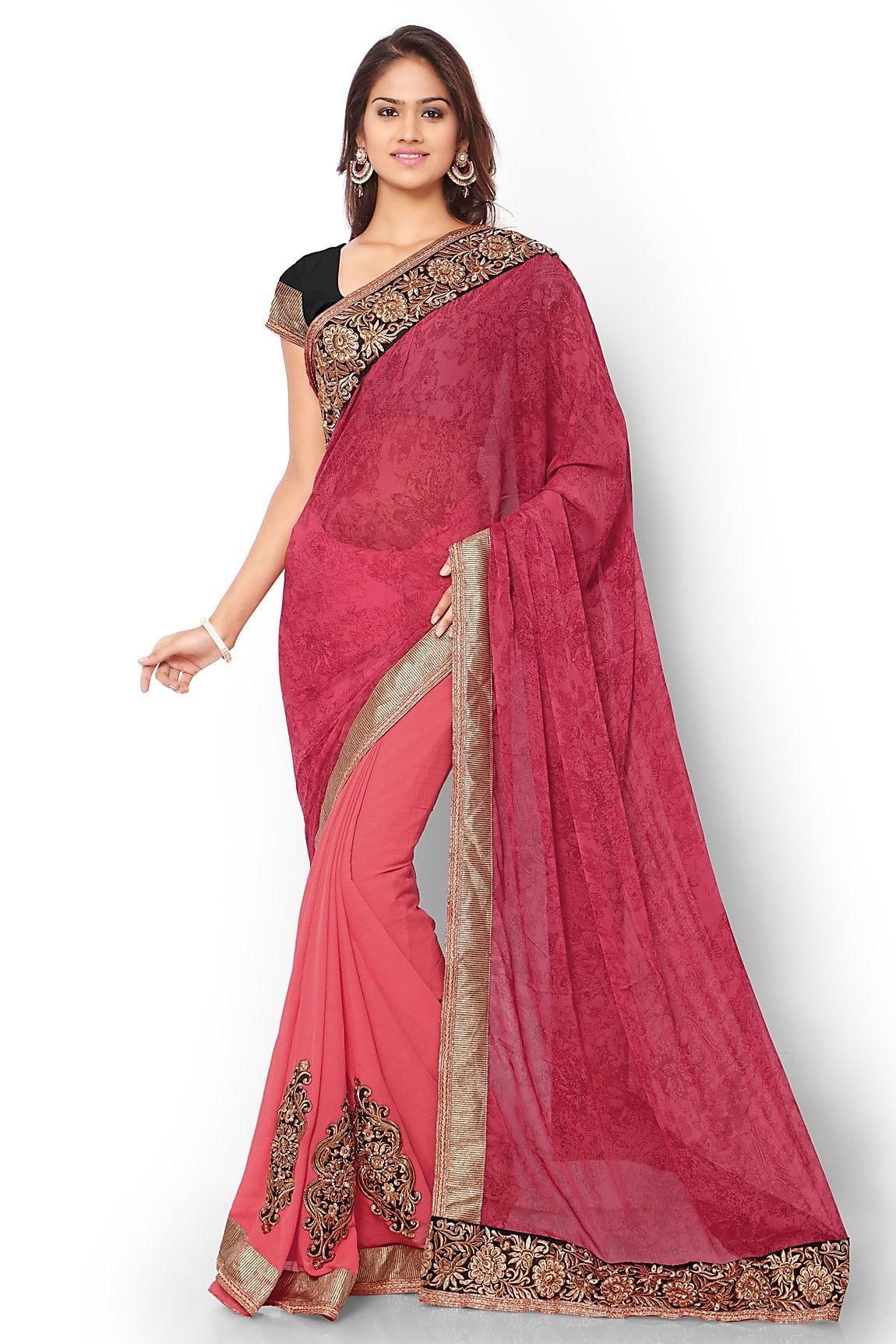 c06df7368e Buy Bhelpuri Dark Pink And Salmon Georgette And Chiffon Saree With Jaipuri Silk  Blouse Piece online. ✯ 100% authentic products, ✯ Hand curated, ...