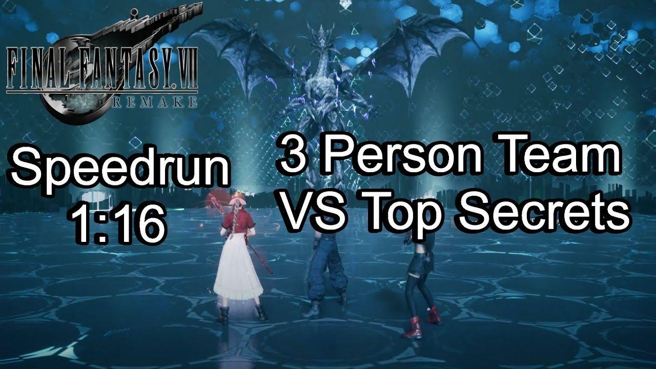 PS4 Final Fantasy VII Remake Three-Person Team VS Top Secrets Speedrun 1...
