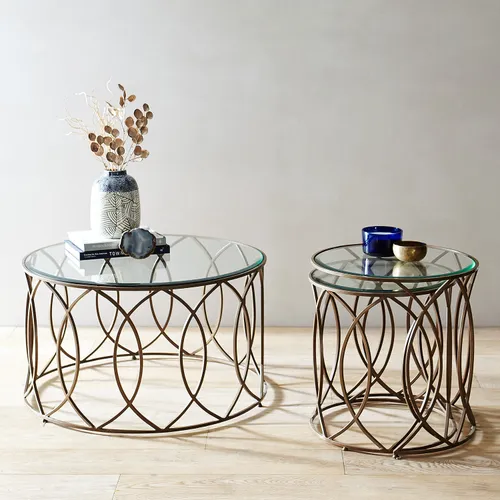 Elana Bronze Iron Round Coffee Table Nesting Tables Round