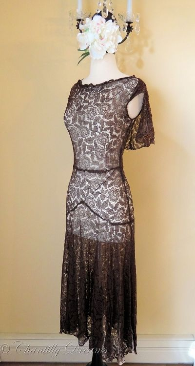 Flirty vintage 1930s chocolate brown french chantilly lace for Brown lace wedding dress