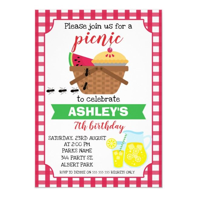 Plaid Picnic Birthday invitation #zgroupon #picnicbirthday #picnicbirthdayinvitation #picnicinvitation #picnicbirthdayparty #plaid #tartan #pattern #invitation #invites #cards #custom #DIY