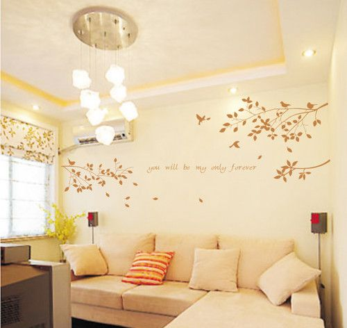 Wall Decor Decal Sticker Removable tree branches birds-brown | eBay ...