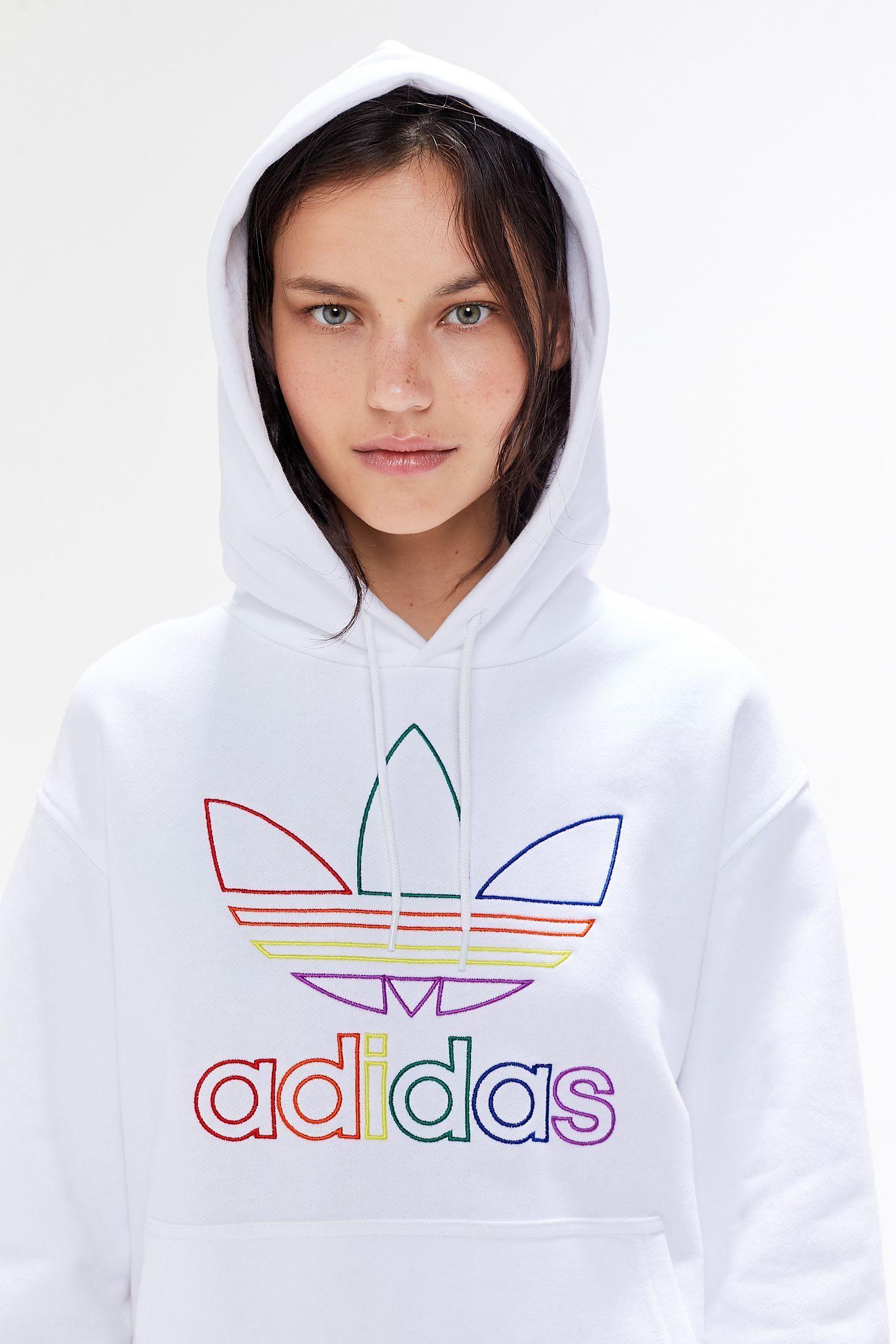 Adidas Pride Rainbow Trefoil Hoodie Sweatshirt Urban Outfitters Sweatshirts Hoodie Adidas Hoodie Outfit Pride Shirts [ 2175 x 1450 Pixel ]