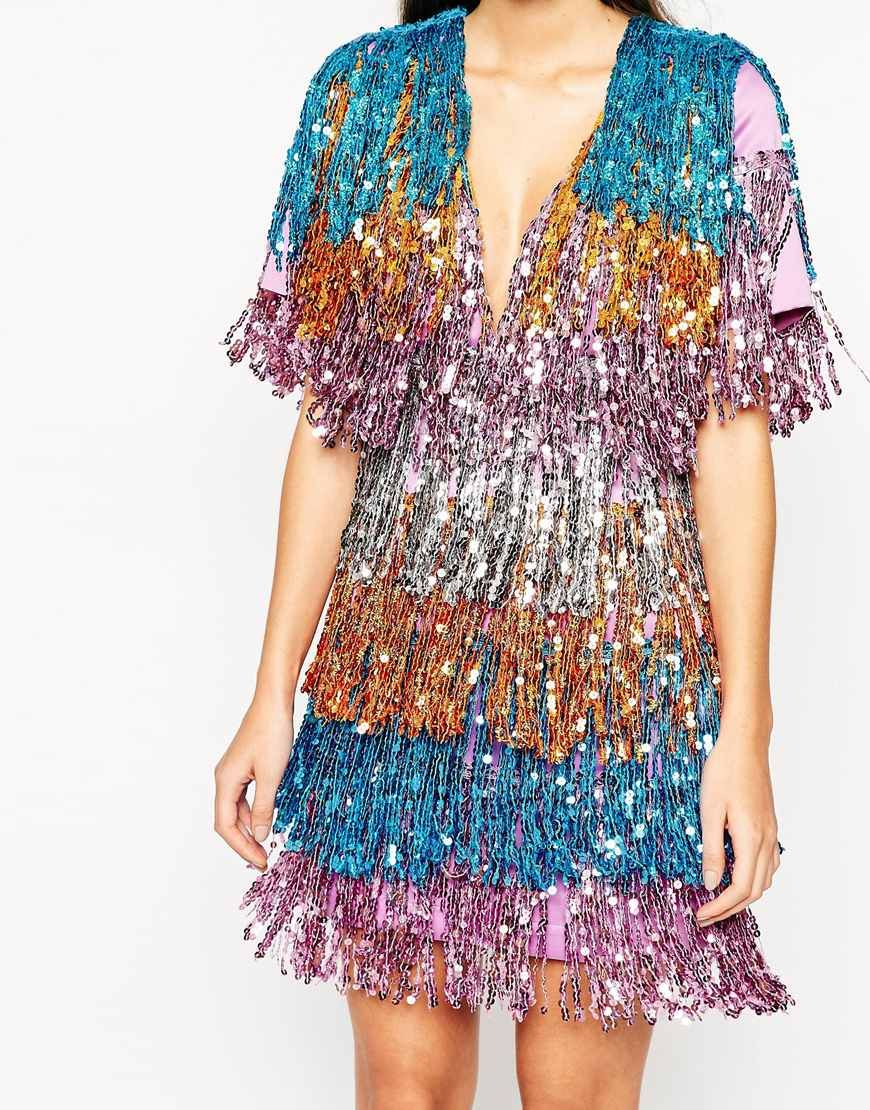 4201313a NIGHT Ombre Sequin Fringe Mini Dress | Embroidery | Tambour ...