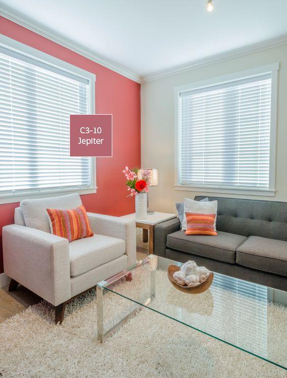 Un Salon Con Las Paredes Pintadas En Color Coral En 2020 Pintar La Sala Interiores De Casa Colores De Interiores