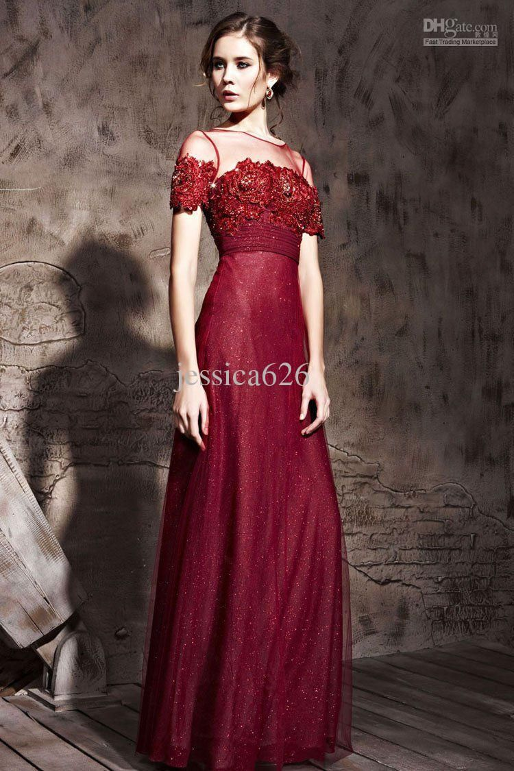 Wine Red Evening Dresses Jewil Short Sleeve Lace Appliques Ankle Red Evening Dress Bridal Dresses Tulle Evening Dress
