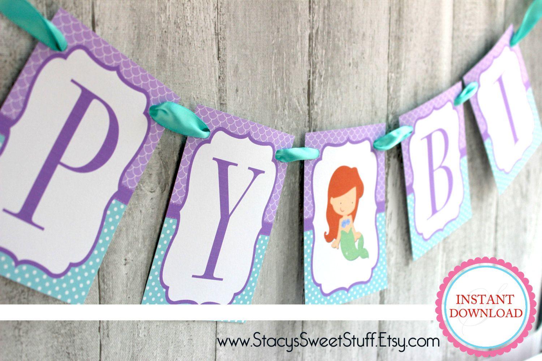 Printable Birthday Banner ~ Little mermaid inspired birthday banner diy printable instant