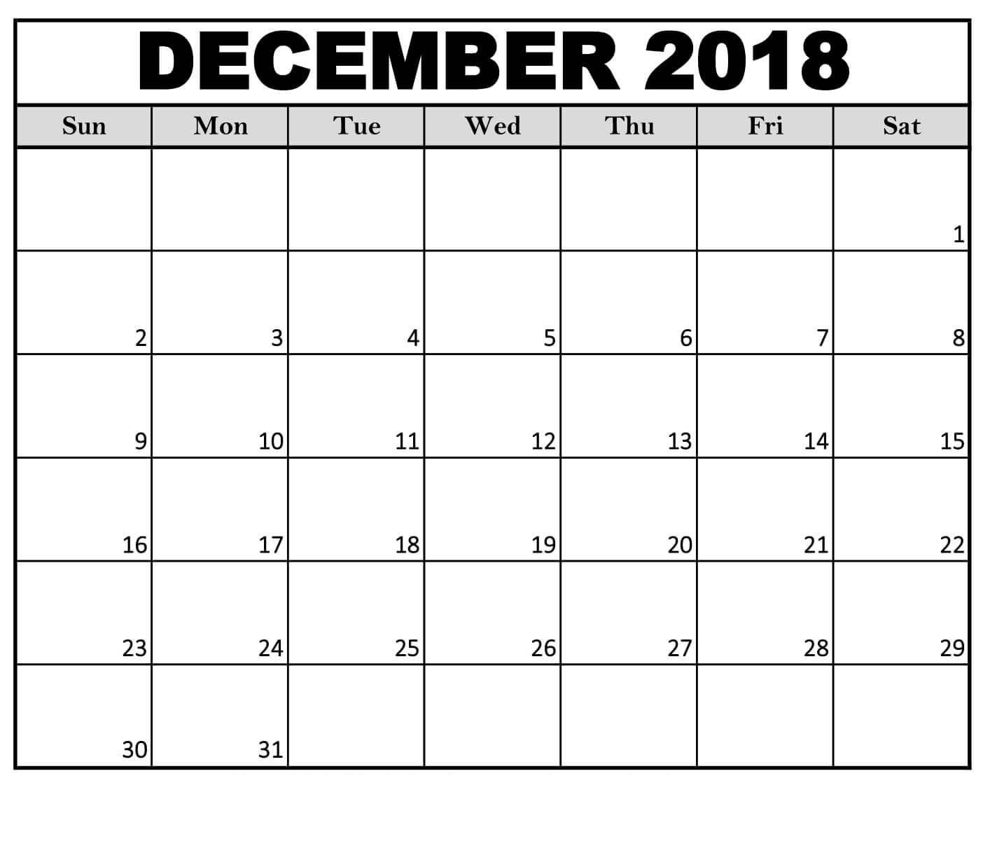 December 2018 Calendar Weekly Template Printable Calendar