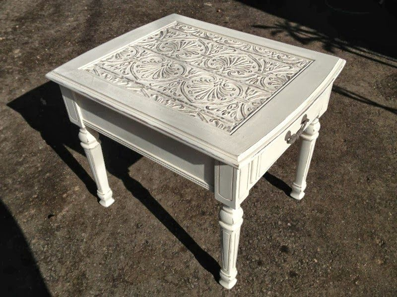 Treasured Rubbish: Tin ceiling tile End Table