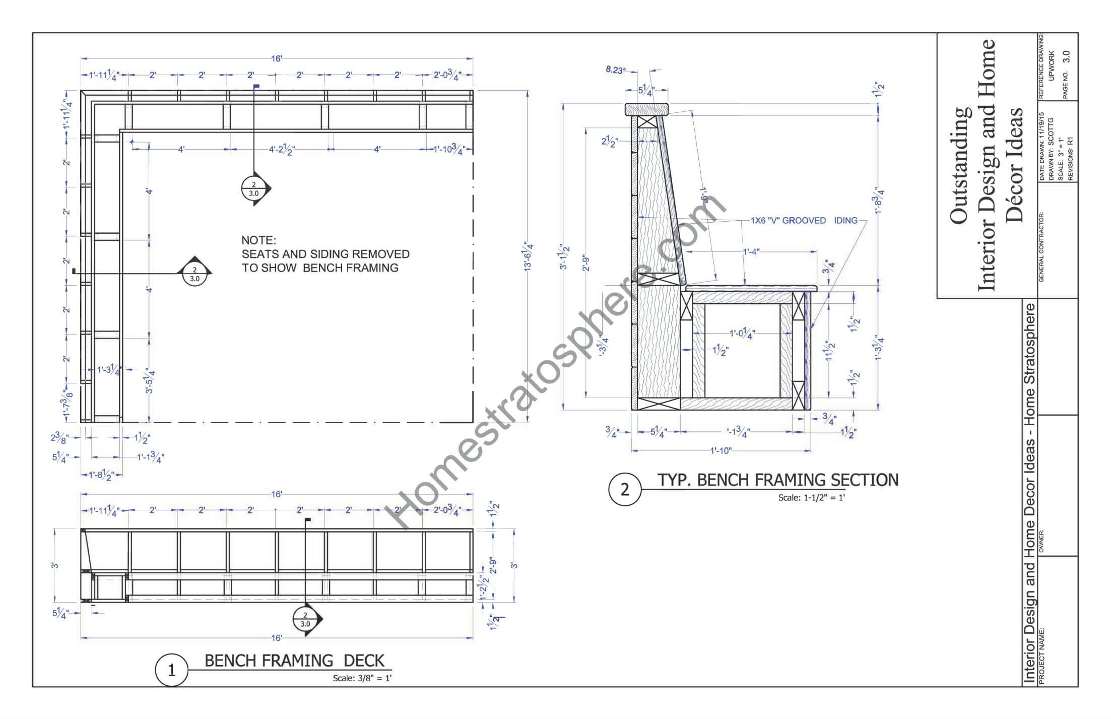 Superb Built In Bench Plans Part - 4: Deck Plan With Built-In Benches For Seating And Storage