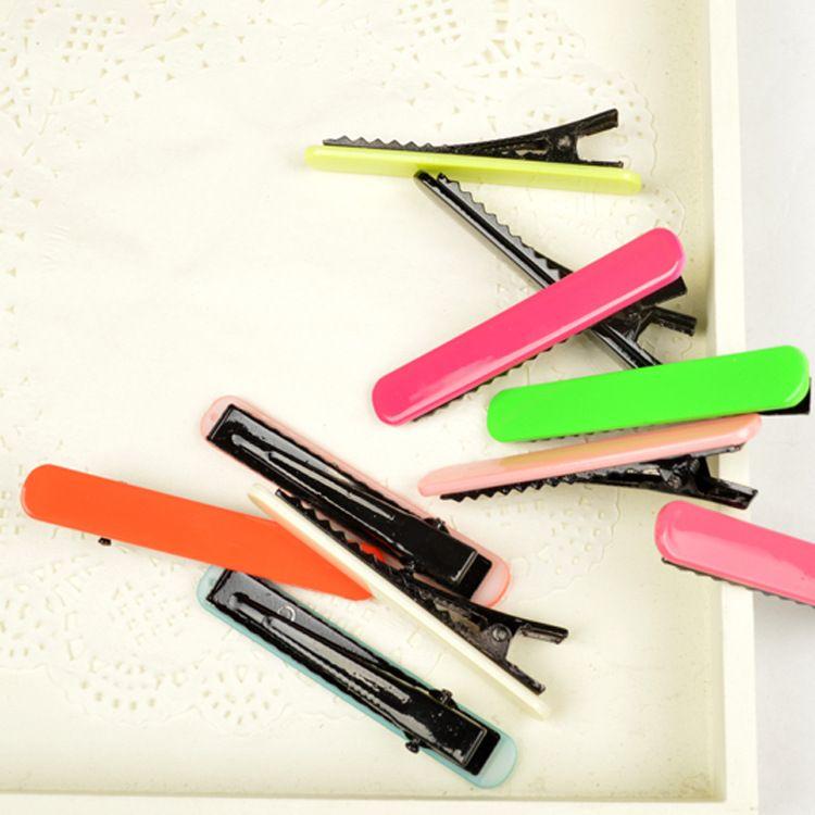 Barn Solid Color Hårnål Side mappe Duckbill Clip Konfekter Farge Word Clip Hår tilbehør