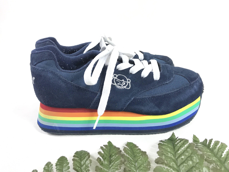 f245b235dff71 Vintage rainbow platforms, 1990s club kid tennis shoes, Sugar lace ...